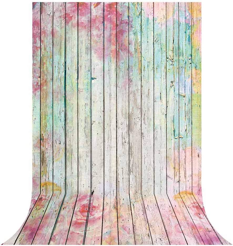 Funnytree 5x7ft Floral Wood Wall Backdrop Flower Rustic Wooden Floor Photography Background Board Texture Baby Girl Women Bridal Shower Birthday Party Decorations Photo Banner Photobooth Studio