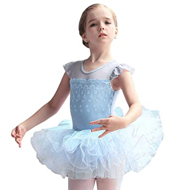 49f160d822c8 Amazon.com  OBEEII Toddler Kid Girls Flower Applique Ballet Tutu ...