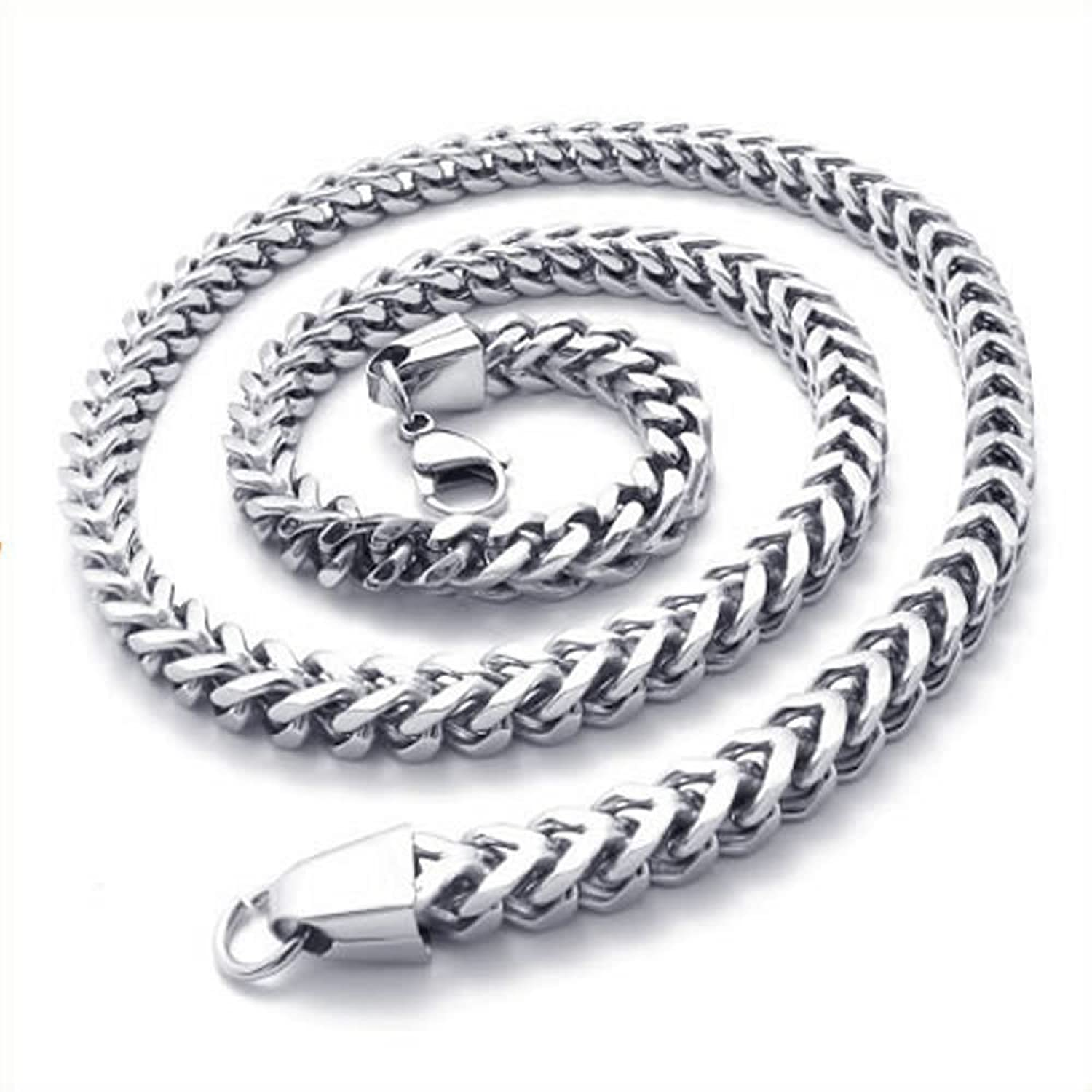 KONOV Stainless Steel Mens Necklace Link Chain - Silver - Length ...