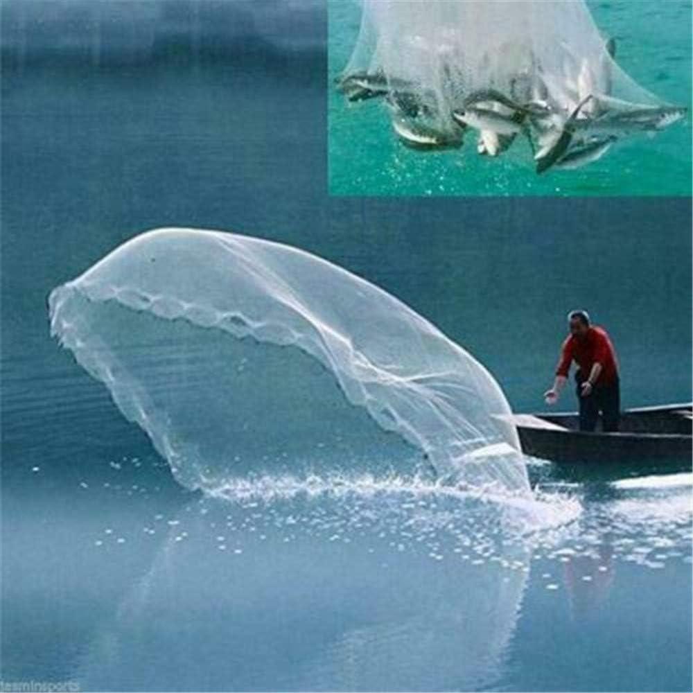 S chenJBO Fishing Cast Net Saltwater Fish Hand Throw for Bait Trap Magic Net Aluminum Ring Environmental-Friendly Material Sinker Folding
