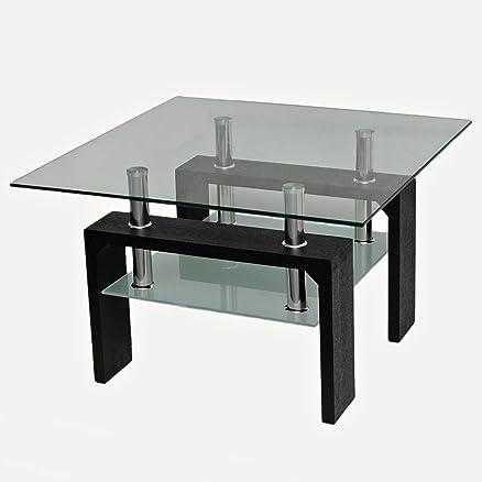 Design tavolo vetro - 70 x 70 cm - acciaio innox e legno ...