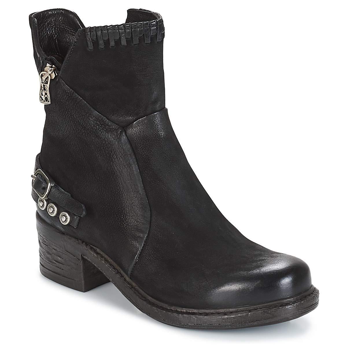 A.S.98 Damen Stiefelette 261231 Stiefel Leder Blockabsatz Schwarz