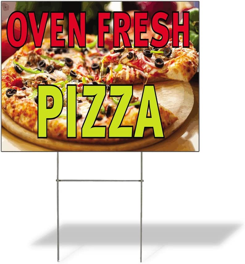 Plastic Weatherproof Yard Sign Newly Baked Pizza Oven Fresh Pizza for Sale Sign One Side 18inx12in