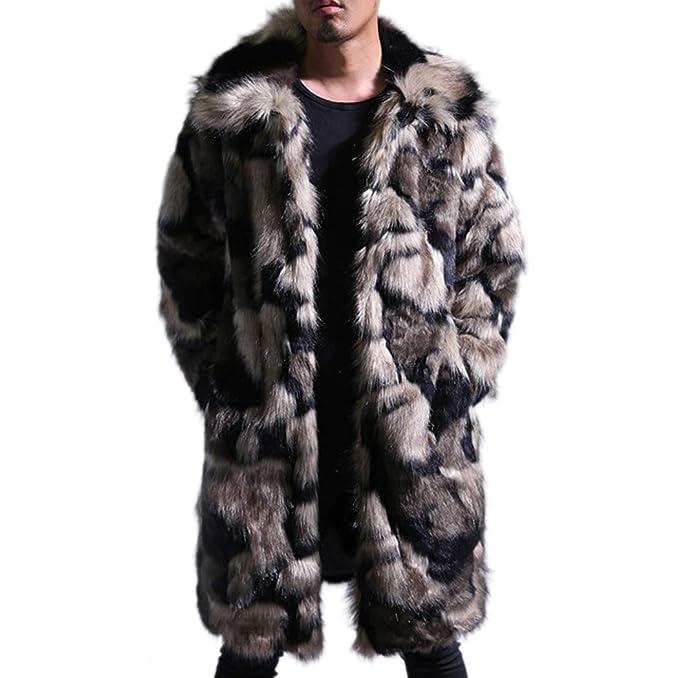 4ce9be98ea8868 Tngan Mens Faux Fur Coat Long Jacket Luxury Winter Warm Parka Overcoat  Outwear Coffee S