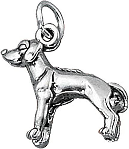 Sterling Silver Girls .8mm Box Chain 3D Airedale Terrier Dog Breed Pendant Necklace