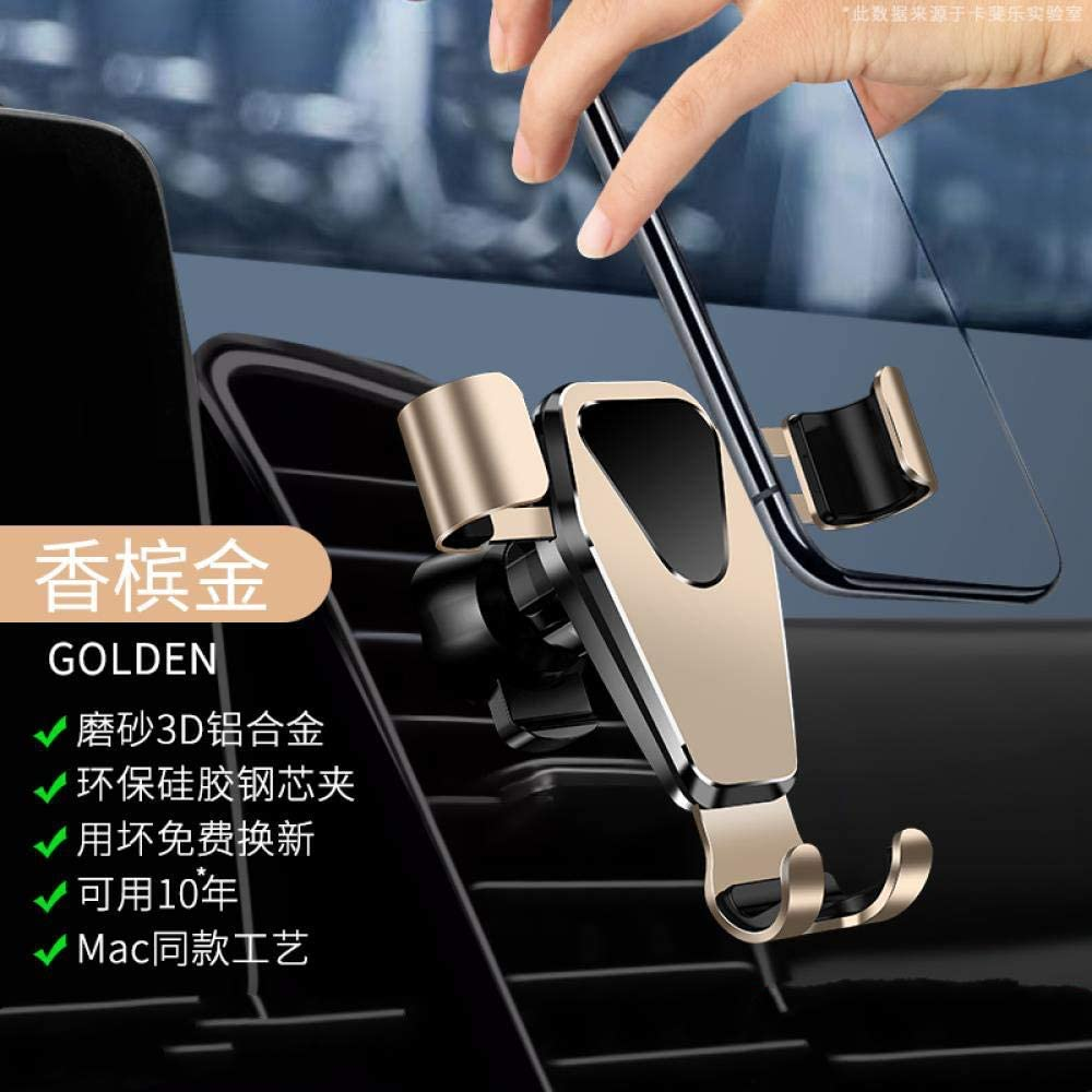Champagne Gold Mobile Phone Bracket General Gravity Bracket with air Outlet clamp for Automobile Navigation Vehicle Aviation Alloy Upgrade