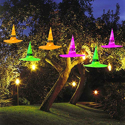 MAOYUE Halloween Decorations Witch Hat, 6Pcs Battery Powered Witches Hat String Light 33 ft. Halloween Décor for Outdoor, Garden, Indoor, Yard, Tree, Party (Purple/Orange/Green) (Best Halloween Indoor Decorations)