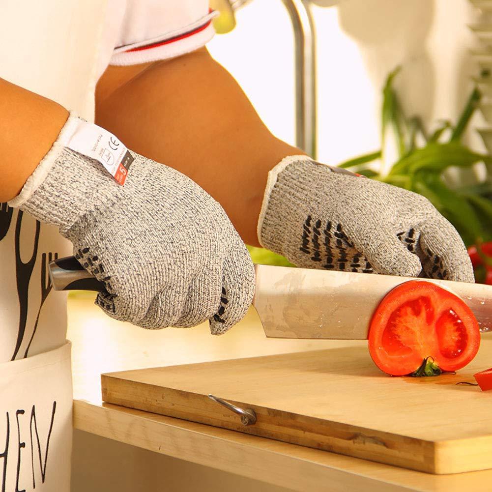 Ogquaton /Guantes anticorte Guantes de Cocina de Trabajo Antideslizantes Profesionales de Nivel 5 Antideslizantes L