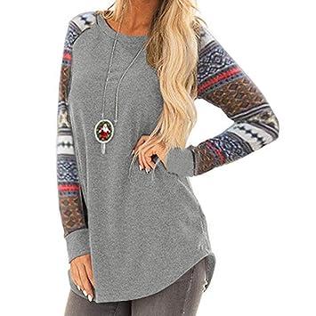 4a7a8ce89e588 MatureGirl Women s Lightweight Color Block Long Sleeve Loose Fit Pullover  Sweatshirts Tunics Tops Shirts