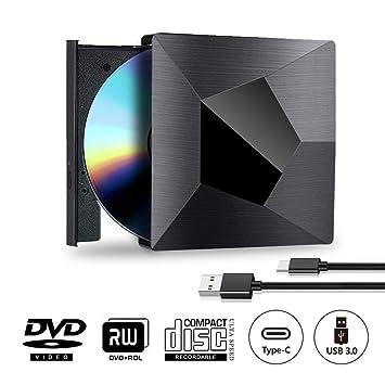 Grabadora Reproductor CD DVD Externa Portátil USB 3.0 y Tipo C 2 en 1 Quemador Lector