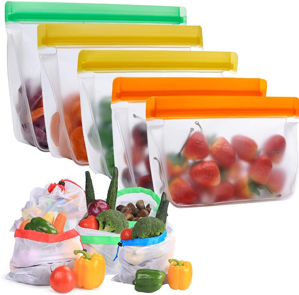 Reusable Silicone Food Storage Bags with Mesh Produce Bags, SAYGOGO Eco-Friendly Silicone Bags for Cooking Prep and Freezer Containers | Washable Mesh Produce Grocery Bags for Vegetables(10Pack)