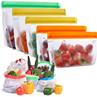 Reusable Storage Bags -10Pack, SAYGOGO Reusable Silicone Food Storage Bags for Sandwich, Vegetables, Fruit | Reusable…