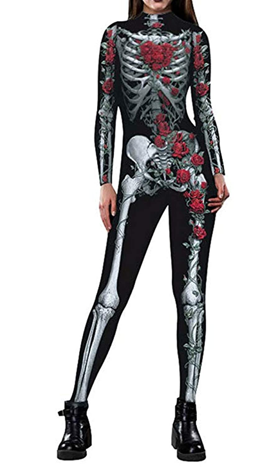 Idgreatim Women Halloween Costume 3D Print Long Sleeve Skinny Skeleton Catsuit Cosplay Jumpsuit Bodysuit