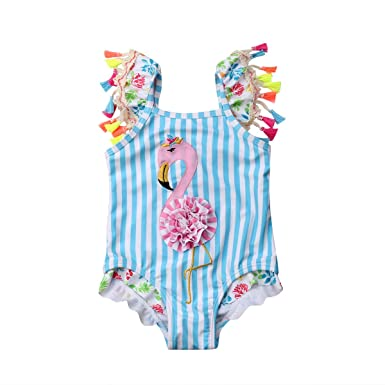 Newborn Baby Girl Cute Pink Flamingo One Piece Swimsuit Swimwear Girl Bikini Costume