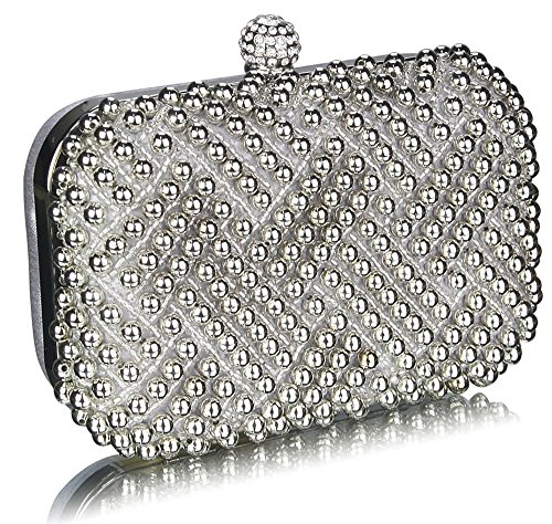 Box Purse Design Party Beaded Wedding Pearl Silver Hardcase Handbag Evening Prom Womens 1 Ladies Clutch Rhinestone Bag Bridal wzOxZ6q1