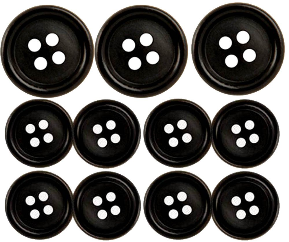 Premium (Horn), Black Suit Buttons Set (11 Pieces) by MisterShop