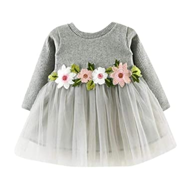 15b11670433fa Amazon.com: EISHOW Newborn Toddler Baby Girls Princess Floral Dress Tutu  Party Birthday Party Long Sleeve Chiffon Dresses: Clothing