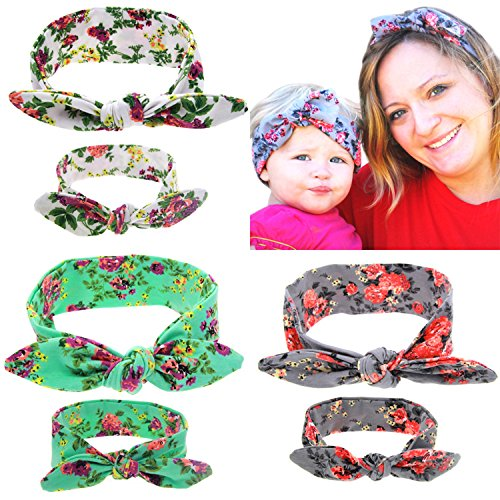 Mommy And Me Headbands Toddler Girls Elastic Headbands Bunny Ears Hairband Flower Hair Hoops Headdress Warps 3 Pack