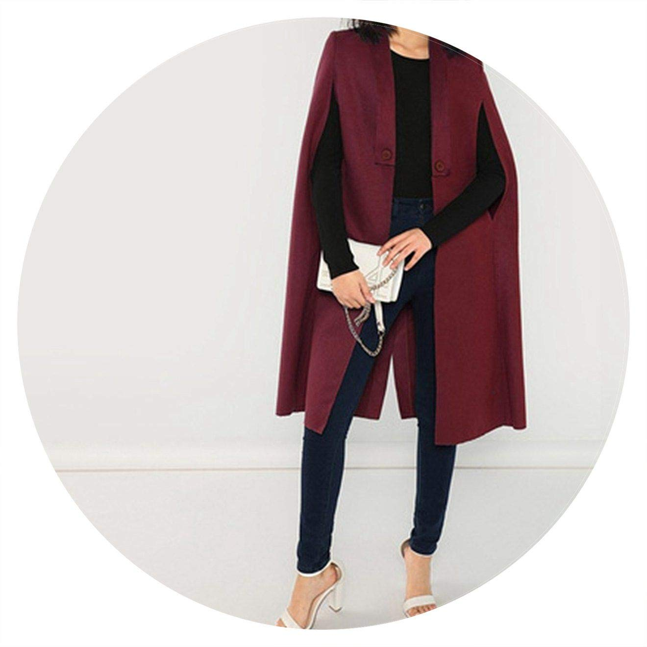 Burgundy Jifnhtrs Elegant Solid Buttoned Shawl Collar Cape Coat Women Coats Outerwear