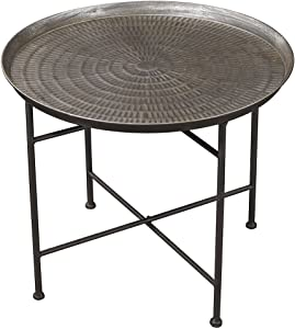 Sterling Home Ignition Embossed Pewter accent table, Gray