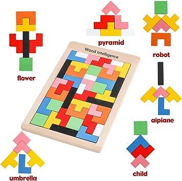 Afufu Puzzle de Madera Montessori Tetris Juguetes Educativos (40 Piezas) Tangram Rompecabezas Juego, Jigsaw Puzzle Tetris del Juguete, Tetris para Niños 3 4 5 6 Años Rompecabezas De Madera: Amazon.es: Juguetes y juegos