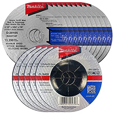 """Makita 15 Piece - 4 1 2 Grinding & Cutting Wheel Set For Grinders - Aggressive Grind & Cut For Metal - 4-1/2"""" x 7/8-Inch"""