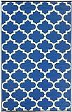 Fab Habitat Tangier Recycled Plastic Rug, (8′ x 10′), Regatta Blue/White Review