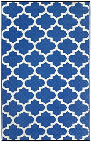 Fab Habitat Tangier Recycled Plastic Rug (8' x 10') Regatta Blue/White
