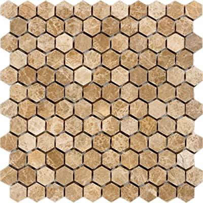 Epoch Tile ELHEX 1-Inch Emperador Light Polished Marble Hexagon