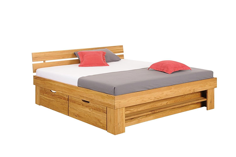 SAM® Massivholzbett Camillo mit Schubkästen, Bett aus Wildeiche, 180 x 200 cm, geteiltes Kopfteil