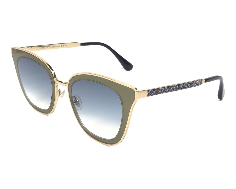 039810b92e64c Amazon.com  Jimmy Choo Lory KY2 Blue Gold Metal Cat-Eye Sunglasses Blue  Mirror Gradient Lens  Clothing