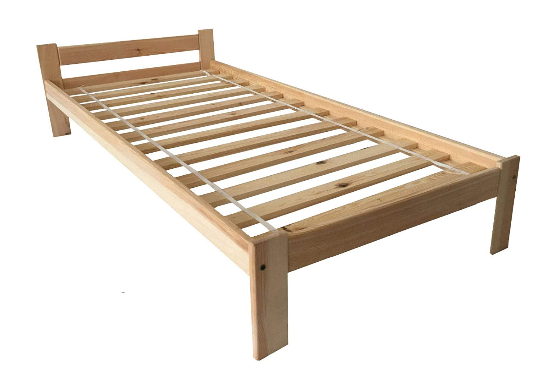 Holzbett Bett 90x200 Jugendbett Kinderbett Kiefernbett Natur Massive Füße Einzelbett Bettgestell mit Lattenrost Rollrost
