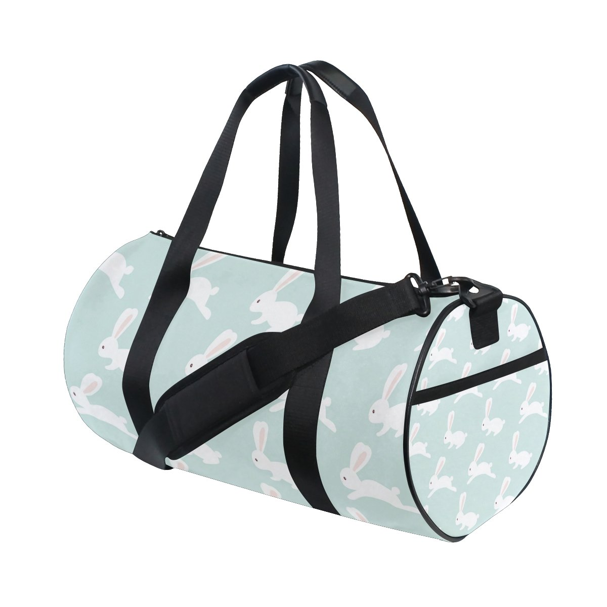 EVERUI Bunny Pattern On Blue Travel Duffle Bag Sports Luggage with Backpack Tote Gym Bag