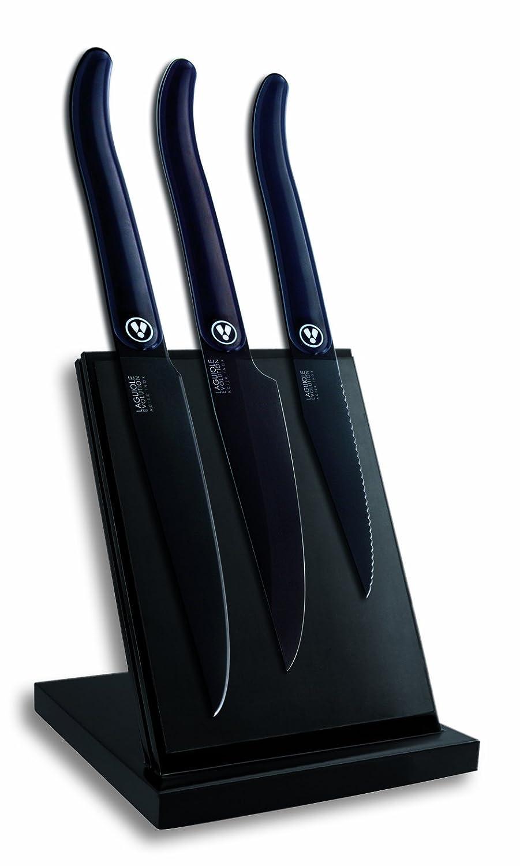 Laguiole Evolution 448251 Kü chenmesser mit magnetischem Messerblock, schwarze Griffe aus Carbon/Edelstahl, 20 x 15 x 30 cm, 3 Messer