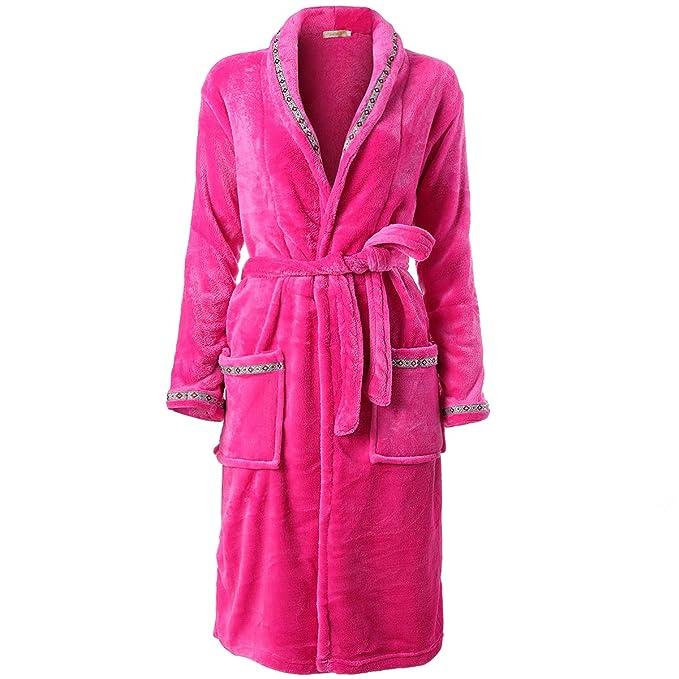 Albornoz en Tejido Polar Mujer, Pijamas Bata hogar en Franela Suave y cómodo, múltiples