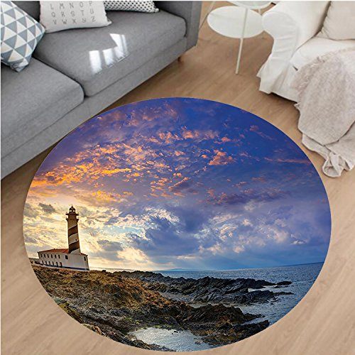 Nalahome Modern Flannel Microfiber Non-Slip Machine Washable Round Area Rug-de Favaritx Sunset Lighthouse Cape in Mahon at Balearic Islands of Spain Coast Image Blue area rugs Home Decor-Round 67'' by Nalahome