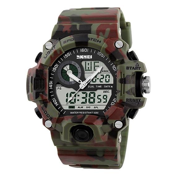 ... suave elegantes multifuncionales reloj deportivo manos esqueléticas analógico-digital fresco de los nuevos hombres buenos luminosa: Amazon.es: Relojes