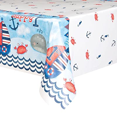 "Nautical Boys 1st Birthday Plastic Tablecloth, 84"" x 54"": Kitchen & Dining"