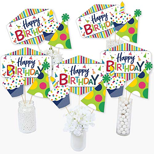 Cheerful Happy Birthday - Colorful Birthday Party Centerpiece Sticks - Table Toppers - Set of 15 -