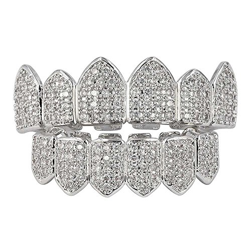 HonsCreat Silver Plated Bling Bling Cubic Zirconia Top & Bottom Grillz Mouth Teeth With Molding Bars - Sterling Silver Grillz