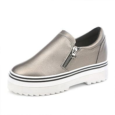 Verano plataforma lado zip zapatos zapatos de mujer/puEstudiantes perezosos con zapatos bajos-A Longitud del pie=24.8CM(9.8Inch) 889dVV5Zg