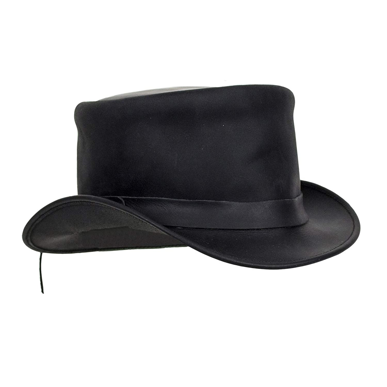 Men's Steampunk Clothing, Costumes, Fashion Black Leather Deadman Top Hat $69.00 AT vintagedancer.com