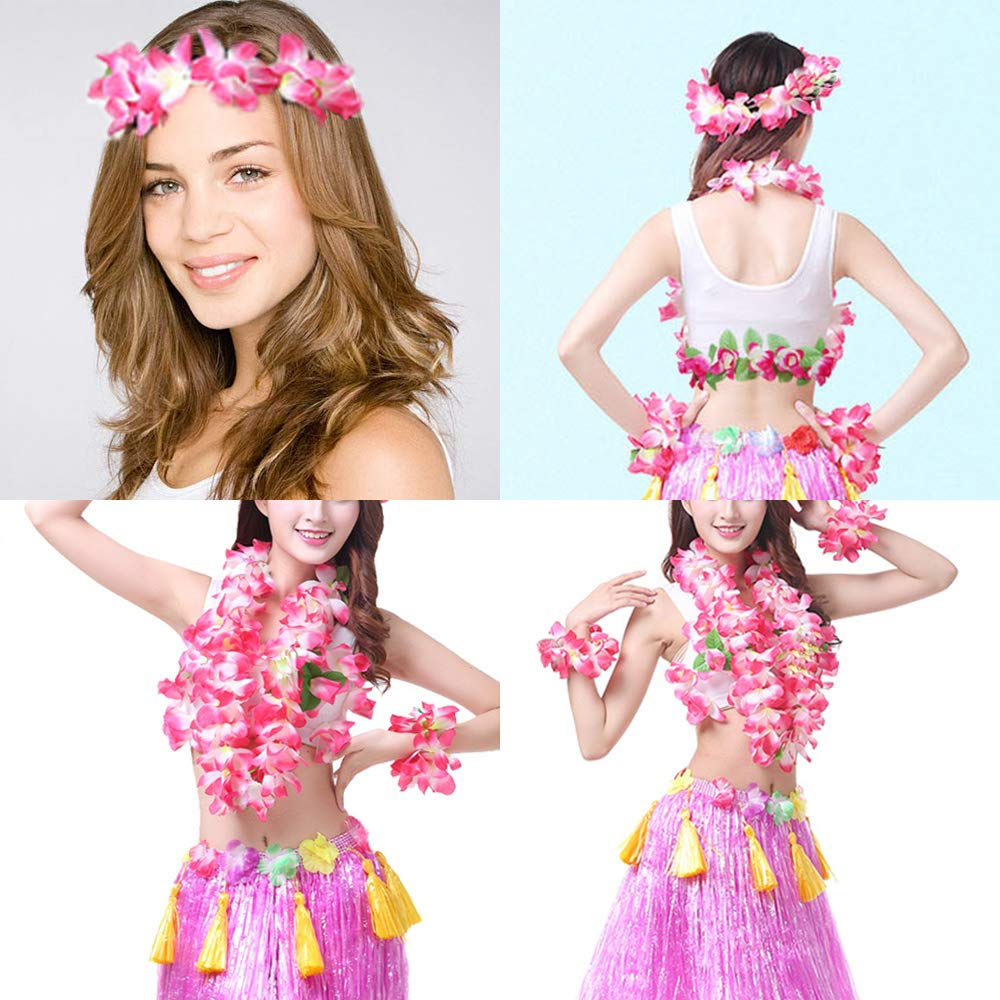 Hawaiian Leis Luau Tropical Headband Flower Crown Wreath Headpiece Wristbands Women Girls Floral Necklace Bracelets Hair Band For Summer Beach Vacation Pool Party Decorations Favors Supplies Rose