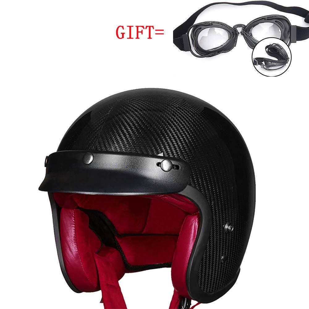 Anti-Collision Motorcycle Helmet Carbon Fiber Men's Outdoor Safety Riding Helmet ECE Certified Distribution Goggles-Black,XXL