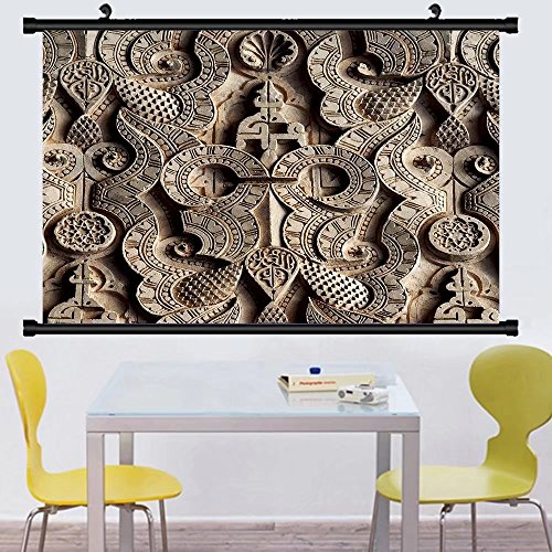 Gzhihine Wall Scroll Posterislamic symbols calligraphy and sacred geometry adorns the walls and ceilings of the ben youssef ,Wall Art Paiting on Canvas 30