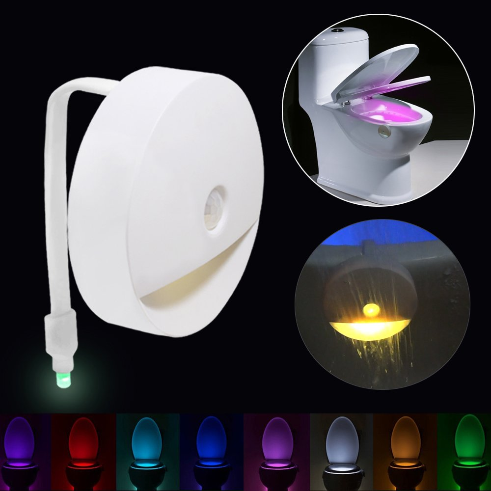 Toilet Light - Motion LED Night Light Sensor Light Battery Operated 8 Colors PIR Motion Activated Toilet Night for Bathroom Washroom Shirley' s baby