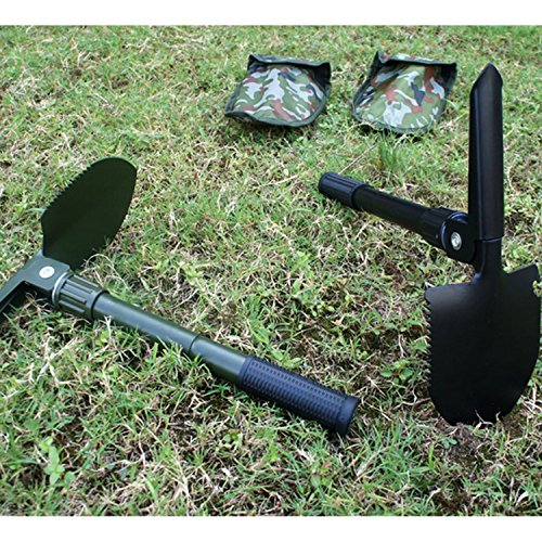 KGTECH Multitool Mini Folding Shovel Compass Portable Camping Spade Pick and Saw in Pouch For Home Garden/Survival Tool