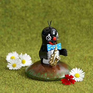 Sammelfigur Maulwurf mit Alphorn Höhe ca 7cm NEU Ganzjahresfigur Miniatur