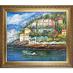 overstockArt Italy at Dusk Painting with Elegant Wood Frame Gold Finish