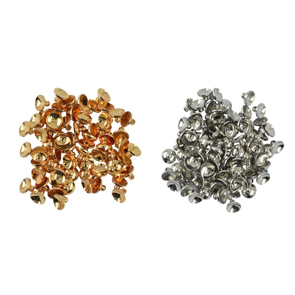 Homyl 100 Stücke 8mm Silber Gold Messing Perlenkappen für DIY Schmuck Perlen Endkappen